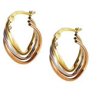 <p>9ct tri gold Hoop Earrings</p>