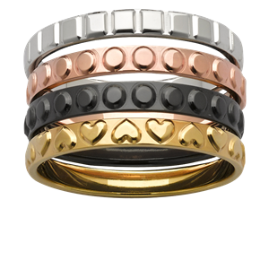 <p>Stacker rings available in yellow gold, zirconium, rose gold and white gold.</p>