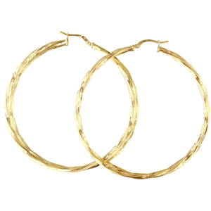 <p>9ct yellow gold Silver Filled Twisted Hoop Earrings</p> <p>Measures 50mm across by 2.5mm wide</p>