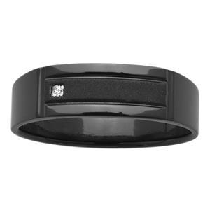 6mm Black Zirconium ZiRO Ring with Princess Cut Diamond