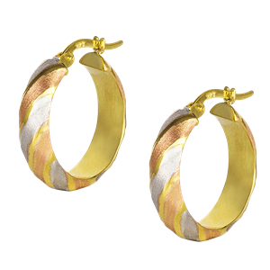 <p>9ct yellow gold Hoop Earrings with rose &amp; rhodium plating</p>