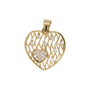 Filigree Cubic Zirconia Heart Shaped Pendant