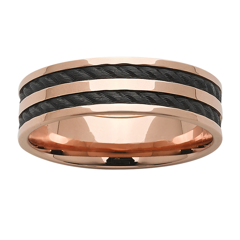 Rose Gold base with rope effect black zirconium inlays