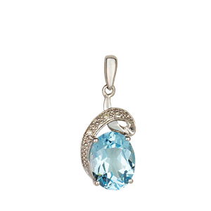 <p>9ct white gold Blue Topaz and Diamond Pendant</p>