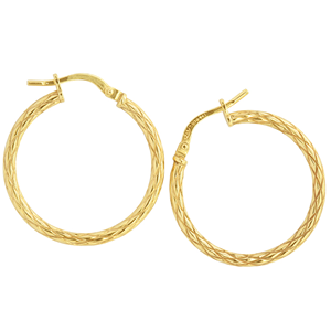 <p>9ct yellow gold Silver Filled Textured Hoop Earrings</p> <p>Measures 20mm across by 2mm wide</p>