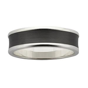 7mm wide concave band, with polished Sterling Silver base and sanded Black Zirconium centre.
