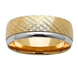 <p>8mm textured yellow &amp; white gold ring</p>