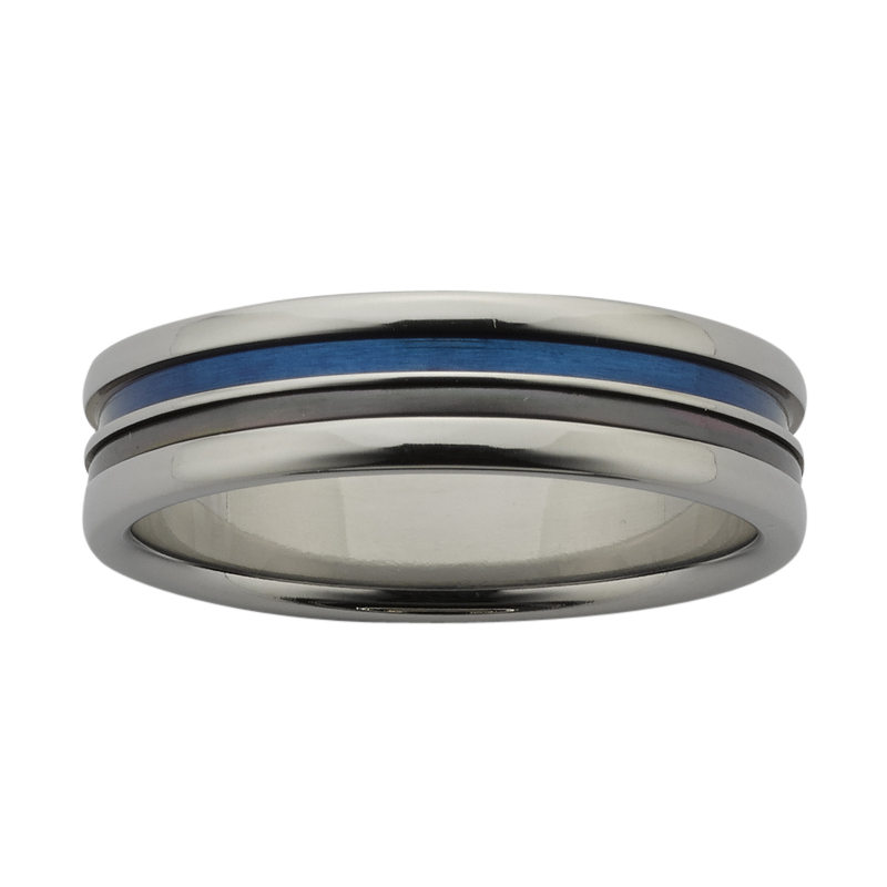 6mm wide Titanium band with blue groove, and Black Zirconium inlay with polished finish.