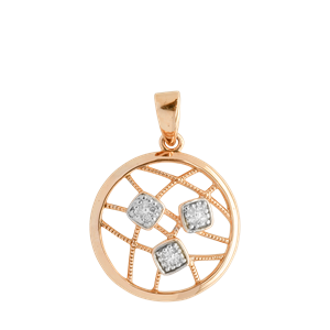 <p>9ct rose gold Circle Diamond Pendant with rhodium plated settings</p>