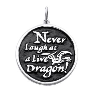 <p>Never Laugh At Live Dragons pendant, with black rhodium plating.<br /> <br /> Bilbo's advice to himself when exploring the caves and tunnels of The Lonely Mountain, and trying not to wake a sleeping Smaug.<br /> <br /> Comes with official The Hobbit pouch.</p>