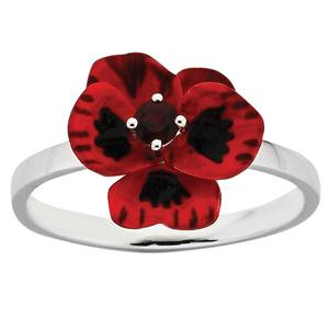 <p>ENAMEL FLOWER RING.3MM GARNET</p>