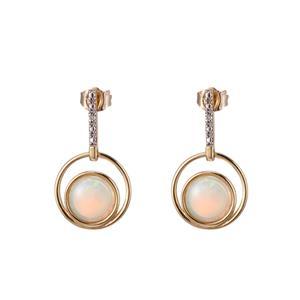 9ct Yellow Gold Opal & Diamond Earrings